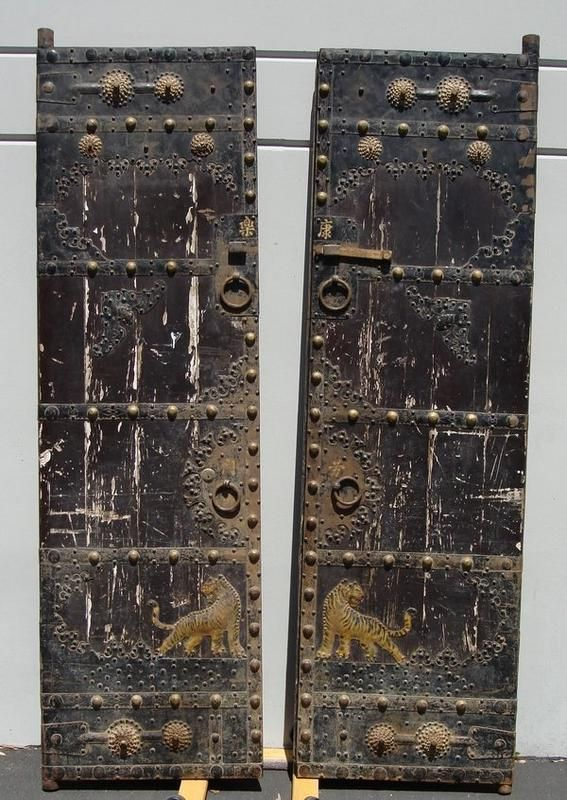 CHINESE ANTIQUE DOORS | Enormous 8' Antique Chinese Iron Clad Wood Doors For Sale | Antiques ...