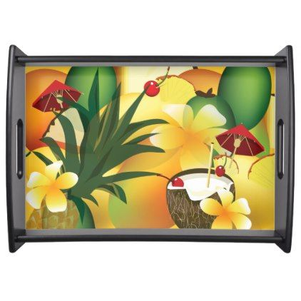 CoconutTiki Bar Luau Tropical Serving Tray - flowers floral flower design unique style