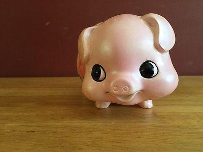 Vintage-Mid-Century-Cute-Smiling-Pig-Flowered-Piggy-Bank-Japan
