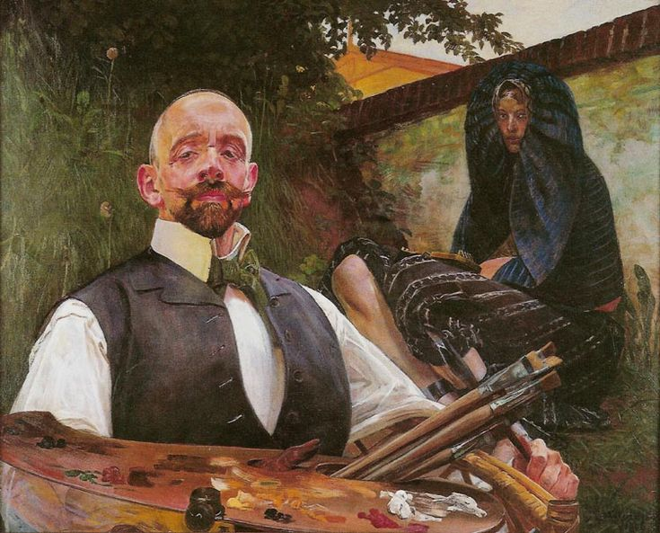 Jacek Malczewski - Self-portrait (1906) with Muse