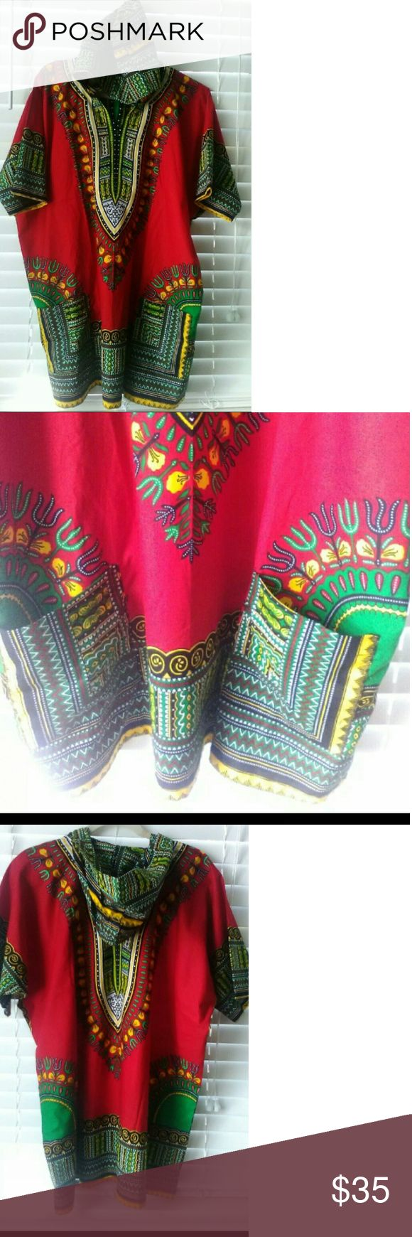 Red Dashiki Two pocket hooded dashiki!!! One size fits all Dresses