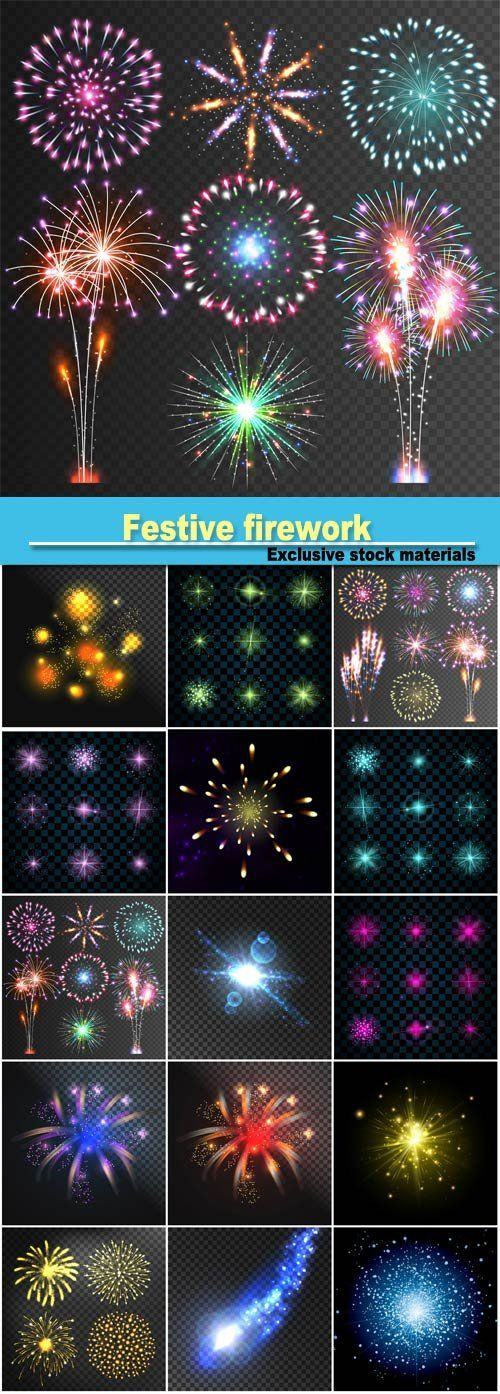 Festive firework abstract vector isolated pictograms