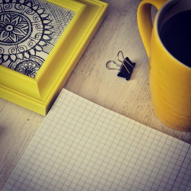 Miłej niedzieli :) #yellow #cup #frame #art #drawing #illustration #rysunek #żółty #kubek #red #tea #inspiration #niedziela #sunday #happy