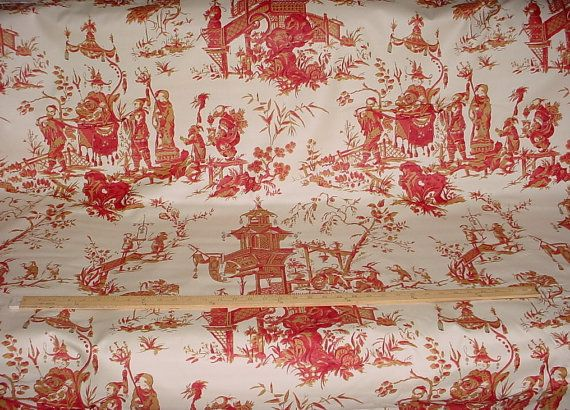 1-1/2 yards F Schumacher #168276 Chinois in Cream and Red - Asian Scenes Cotton Toile Print Upholstery Drapery Fabric - Free Shipping