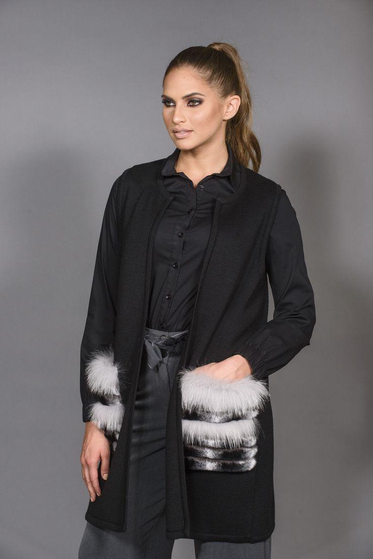 Πλεκτά με γούνα : Knitting Vest with fur pockets