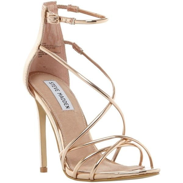 Steve Madden Satire Strappy Stiletto Heeled Sandals , Rose Gold (325 BRL) ❤ liked on Polyvore featuring shoes, sandals, heels, rose gold, high heels sandals, rose gold sandals, high heel shoes, flat sandals and strap sandals