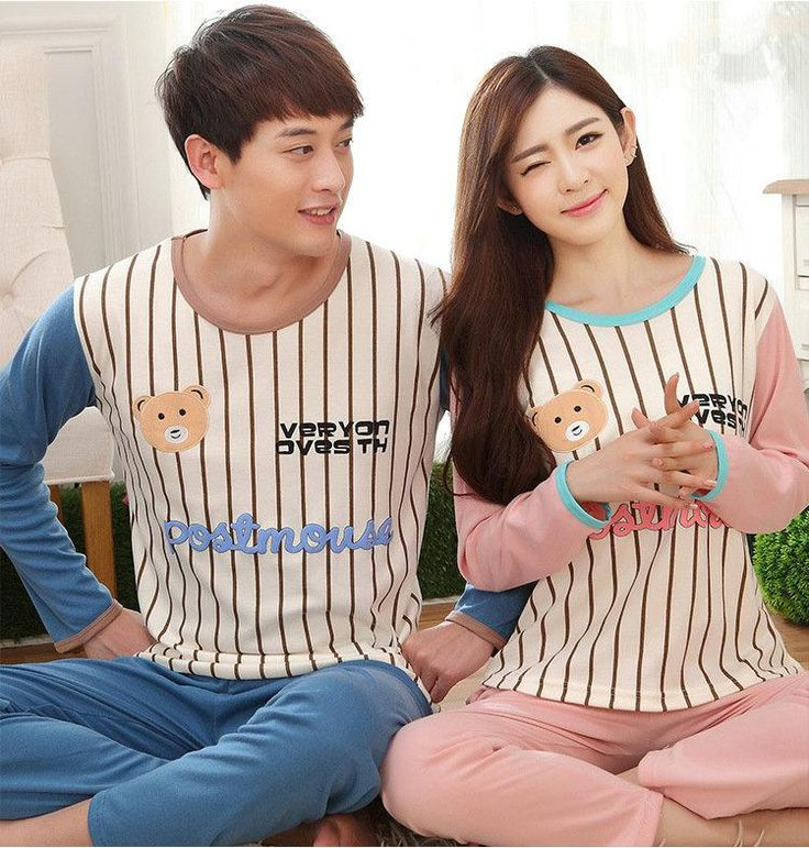 Spring autumn women man couple pijamas sets striped printing patchwork cotton nightwear ladies fashion casual suit home woman clothing