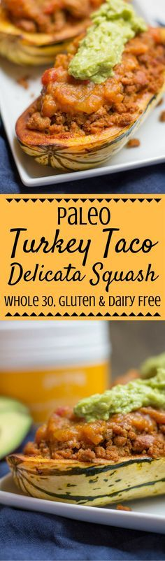 This Paleo Turkey Taco Stuffed Delicata Squash Recipe is fun twist on regular tacos. It's easy to make, whole 30 friendly and the perfect fall dinner! This post is made in partnership with my friends at Vital Proteins. | paleo dinner | whole 30 dinner | low carb | delicata squash | fall dinner | fall recipes | tacos | healthy dinner | gluten free tacos | delicata squash boats |