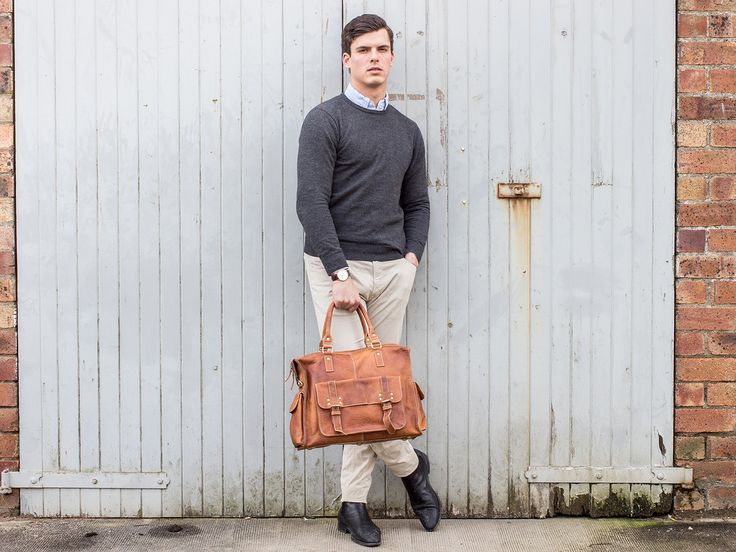 Men's Leather Weekender Bag by Scaramanga