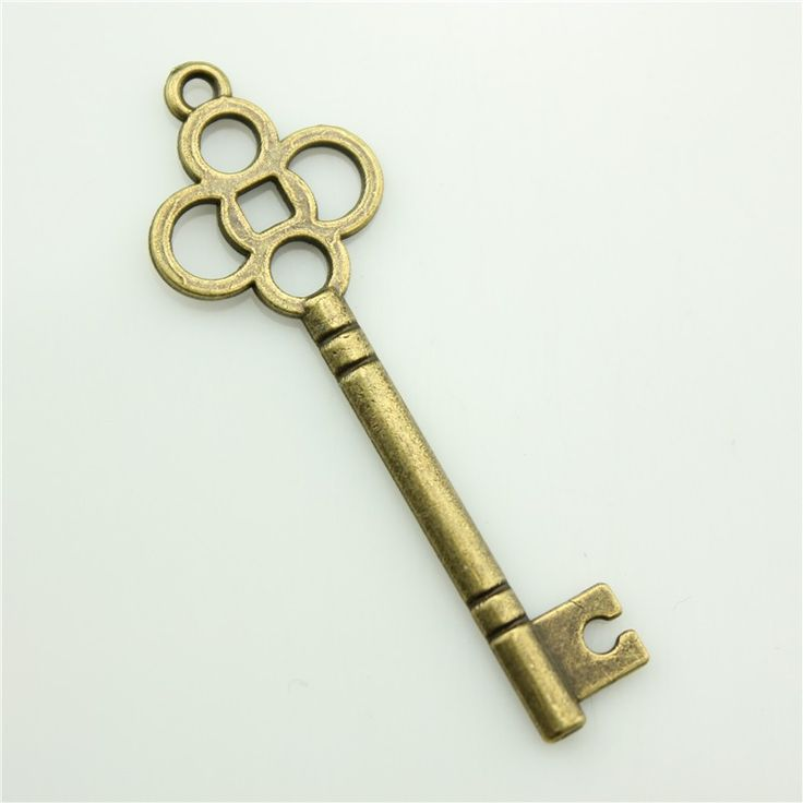 Брелоки для ключей-50 шт. 46 х 15 мм античный бронзовый ключ слайд подвески