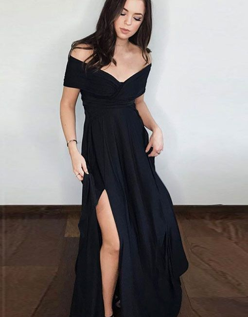 Off the shoulder Black Long Prom Dress with Slit
