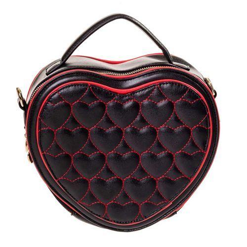 Harten hand/schouder tas zwart/rood - Rockabilly Vintage - Banned