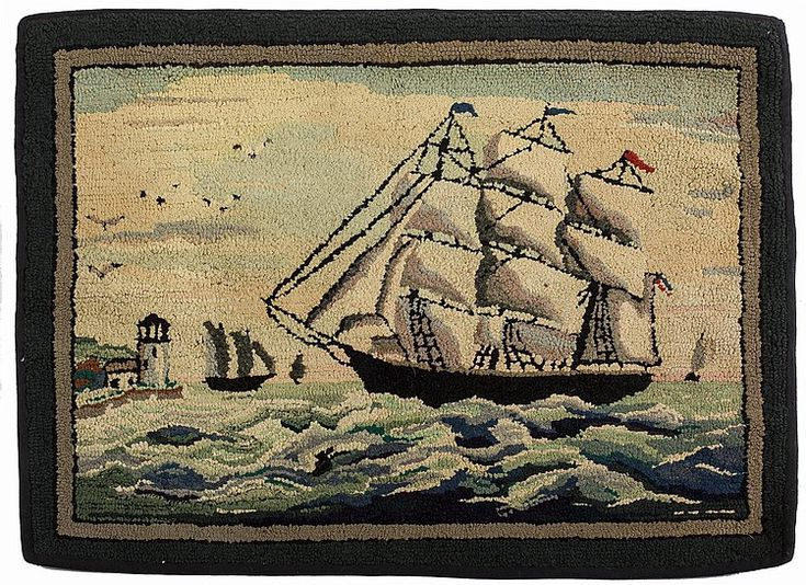 Hooked Rug With Ship And Lighthouse