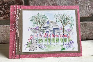 Art Impressions Rubber Stamps: Wonderful Watercolor: Barn Mini Set. flowers, foliage, cats.  Handmade water color.