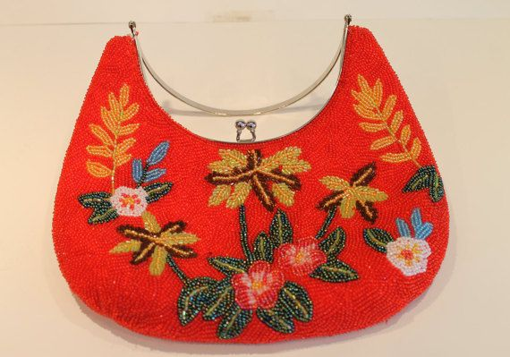 Beautiful Red Floral Beaded Handbag Purse by FunkieFrocks on Etsy