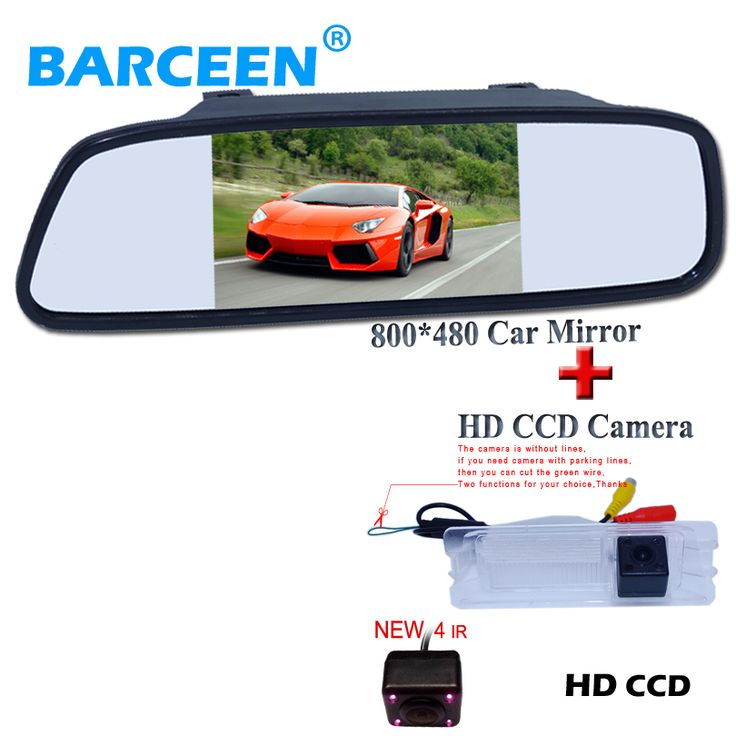 "170 degree car parking camera bring 4 ir hd ccd +5"" car rear mirror  for Nissan March for Renault Logan for Renault Sandero"
