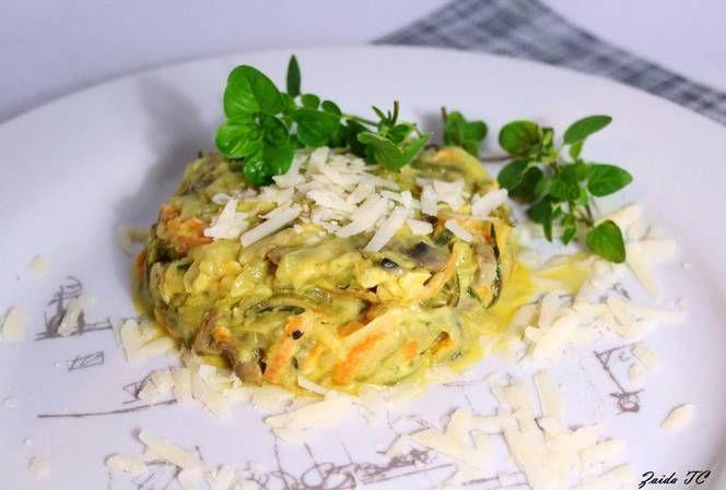 Espaguetis de Calabacín en salsa blanca