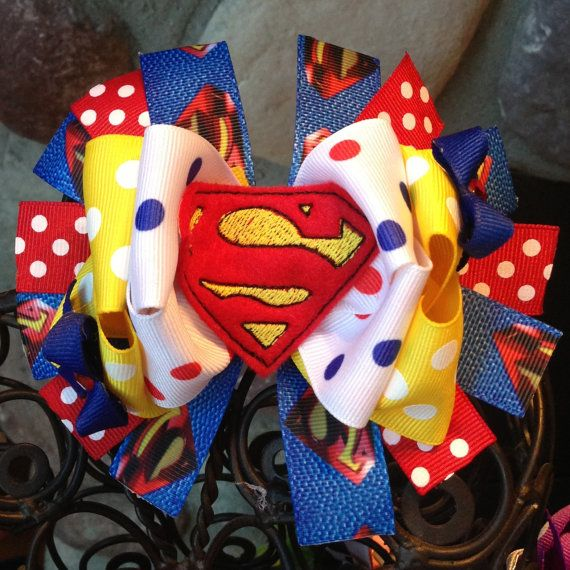 Superman Hair Bow by MegansHairCandy on Etsy, $10.00