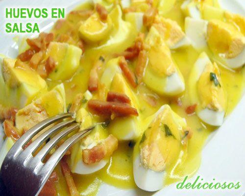 huevos duros rellenos en salsa