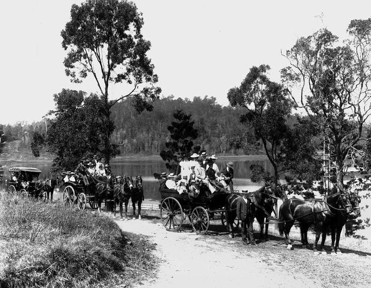 Day trippers travelling to Enoggera Reservoir, Brisbane, ca. 1896 - Groups of men, women and children travelling in carriages pulled by teams of four horses to the Enoggera Reservoir - a popular spot for picnics. This image was used in the Shell series of colour postcards.