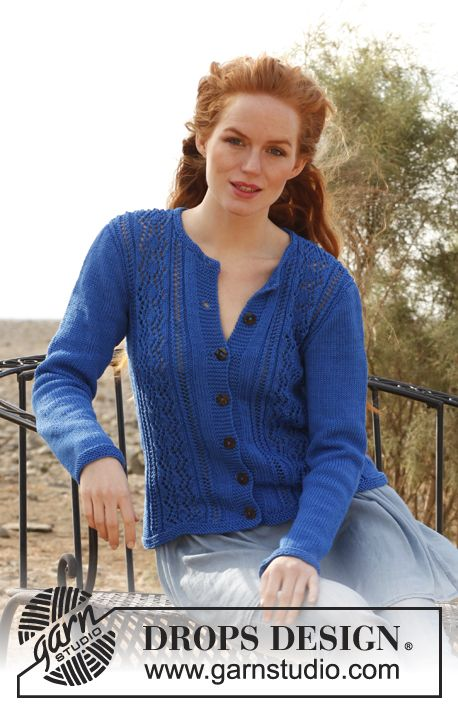 """Melody - Knitted DROPS jacket with lace pattern in """"Muskat"""". Size: S - XXXL - Free pattern by DROPS Design"""