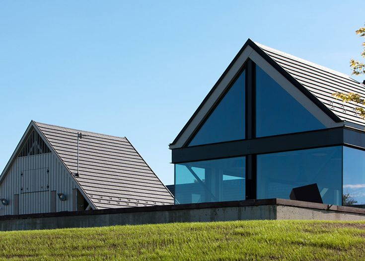 This cluster of gabled buildings provides tasting rooms for a winery in Hungary's Etyek-Buda region.