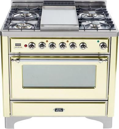 """Majestic Series UM90FMPAX 36"""" Dual Fuel Range Crafted in Italy with 4 Burners and Steel Fry Top Griddle 2.8 cu. ft. Convection Oven Rotisserie Warming Drawer & Chrome Trim in Bisque"""