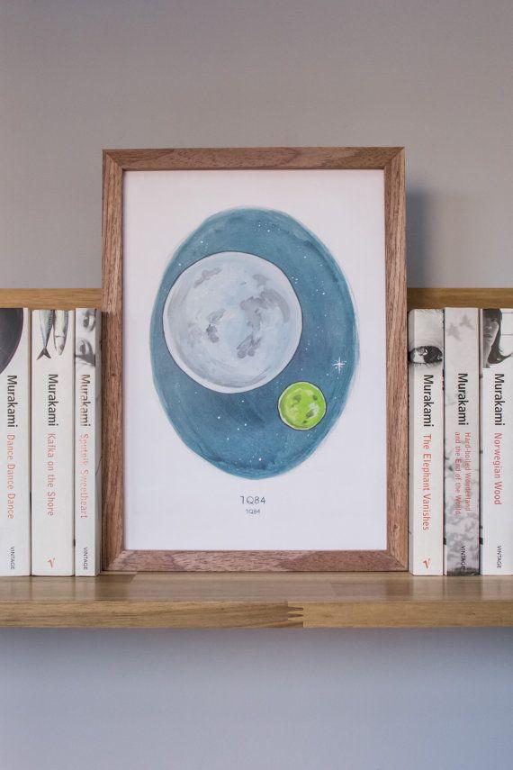 1Q84 di Haruki / / A4 illustrazione delle due lune a matita e acquerello