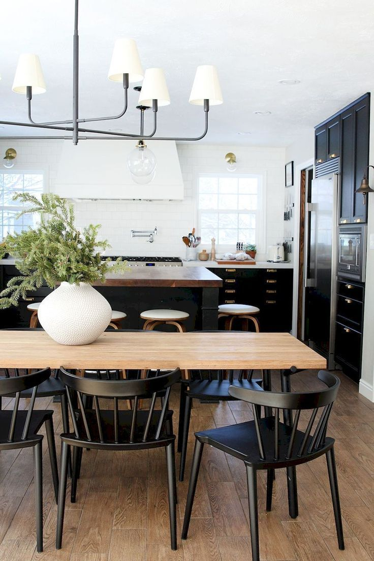 Black Spindle Back Dining Chairs Modern Rustic Kitchen Dining