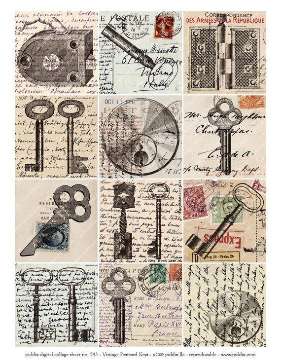 El Hardware de Steampunk de postales Vintage de 2,5 plazas--piddix digital…                                                                                                                                                                                 Más