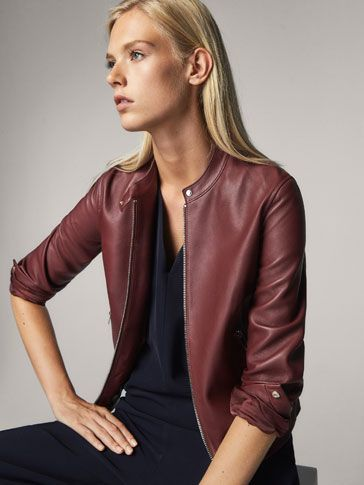 Fall Winter 2017 Women´s LEATHER JACKET WITH SNAP DETAIL at Massimo Dutti for 150. Effortless elegance!