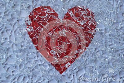 Broken glass and red heart