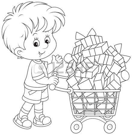 page boy: Ragazzo con un carrello della spesa di regali