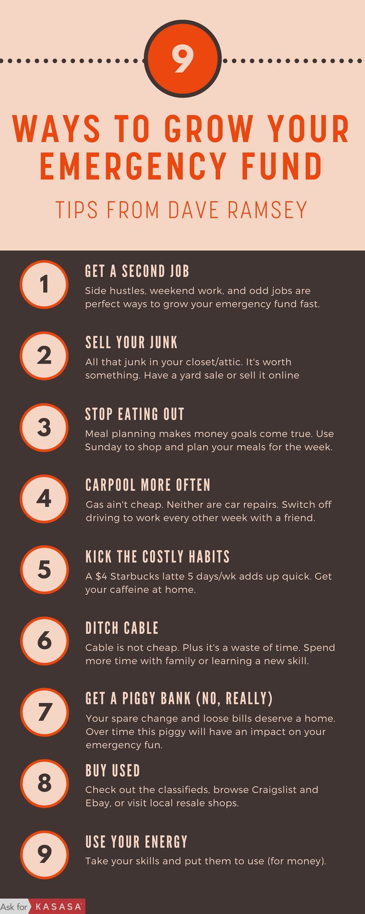 Grow your emergency fund fast with these money tips straight from Dave Ramsey. You'll reach financial peace in no time if you can cross all of these off your list: https://blog.kasasa.com/2014/02/9-ways-build-emergency-fund/