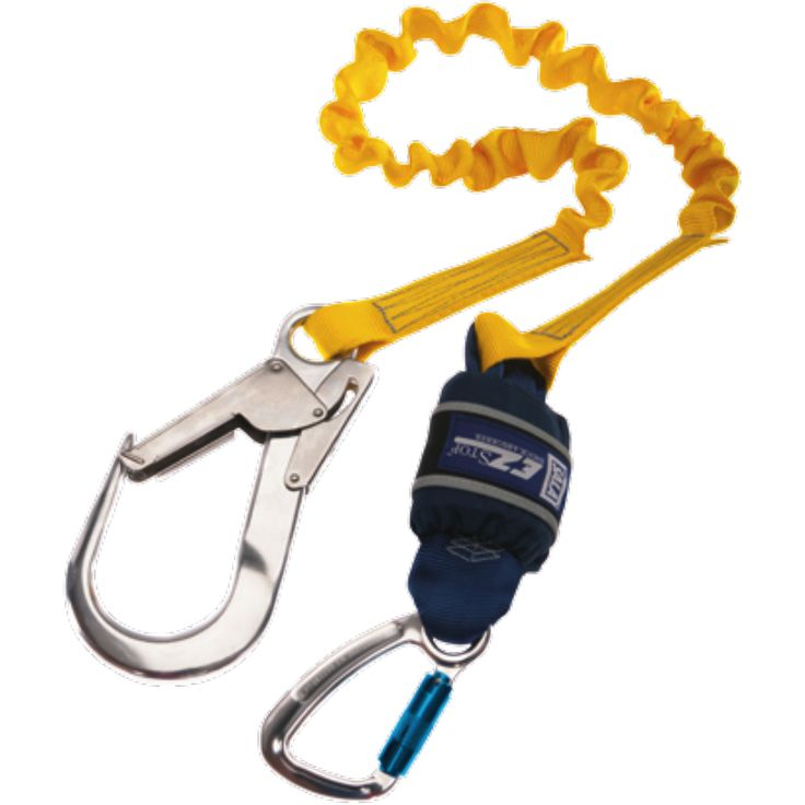 Expander, Single leg, 2 m Length with Aluminium Twist Lock Carabiner, 20 mm Gate Opening Body<br>  Connector and Aluminium Scaffold Hook, 60 mm Gate Opening Anchor Connector