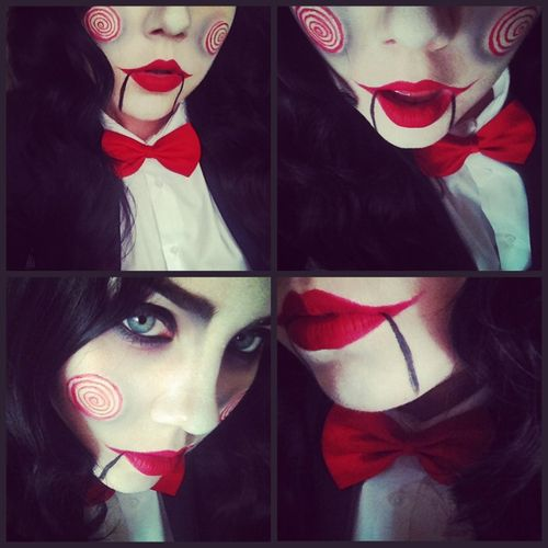 This is a very simple and awesome Jigsaw (from saw) makeup. The lips are my favorite.