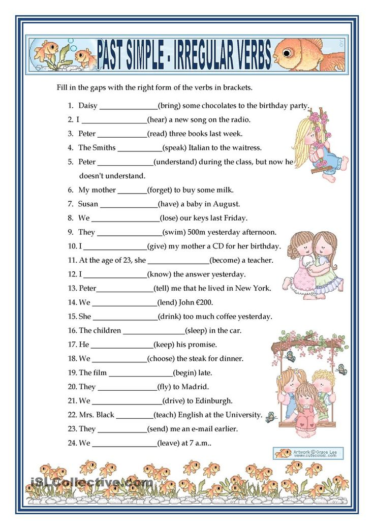 PAST SIMPLE - IRREGULAR VERBS | FREE ESL worksheets