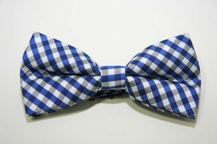 New Bow Tie: Royal blue/black/white gingham adjustable strap bowtie- CHRISTIANTO | eBay