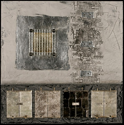 """Roberta Smith: """"Daedalus Discovers The Delubrae"""" -Mixed media, found objects on panel"""