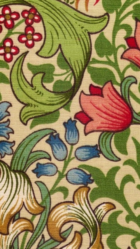 William Morris, arts & crafts colours. Red, green, blue & yellow/gold
