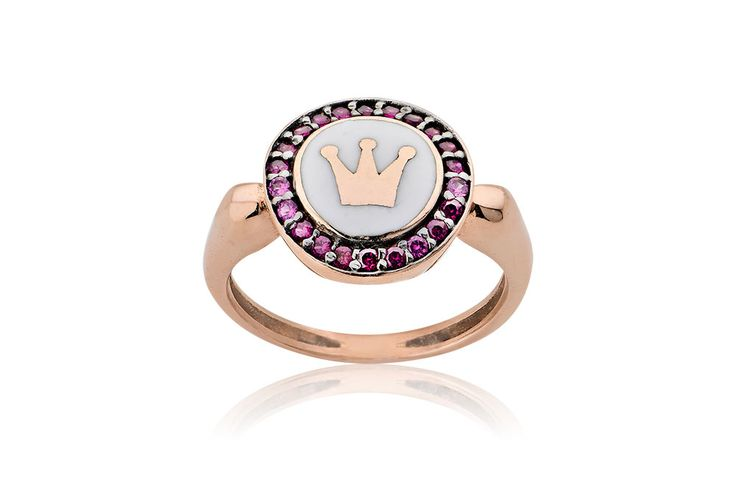 Chevalier Ring With Crown Δαχτυλίδι σεβαλιέ με κόκκινα cz και λευκό σμάλτο από ροζ χρυσό 14Κ. Price : 230€