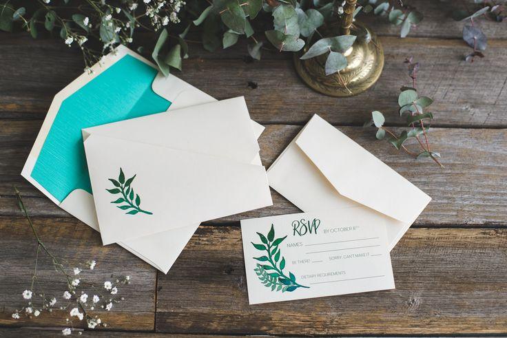 Custom rustic wedding invitation | Origami wedding invitation by A Tactile Perception | Greenery wedding invitation |