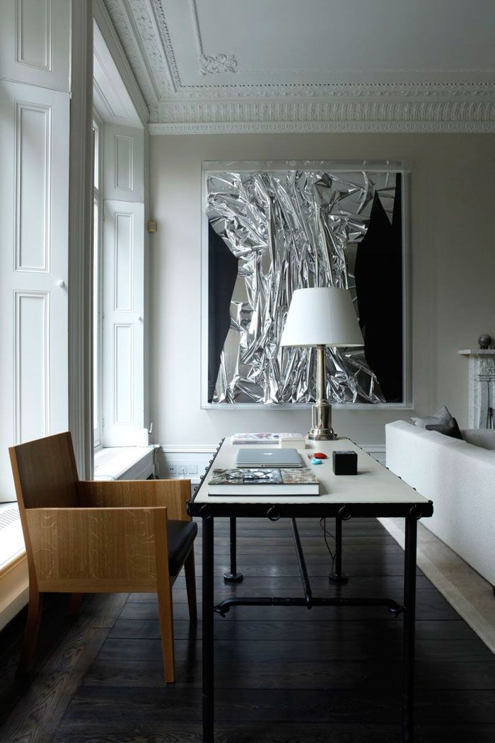 Rients Ltd_Kensington Apartment Massive artwork, light flooding in, love desk and chair behind the sofa area...