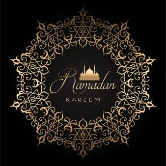 Elegant ramadan background with golden and black design