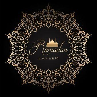 Elegant ramadan background with golden and black design