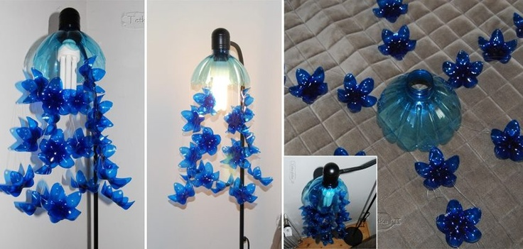 Lampara con botellas pet manualidades pinterest pets for Crafts made from plastic bottles