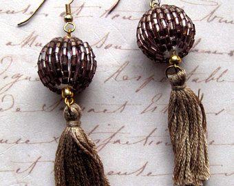 Taupe Beaded Tassel Earrings, Bohemian Jeweled Tassel Earrings, Gypsy Beaded Tasseled Earrings, Taupe Jeweled Gypsy Jewellery, Beige Earring