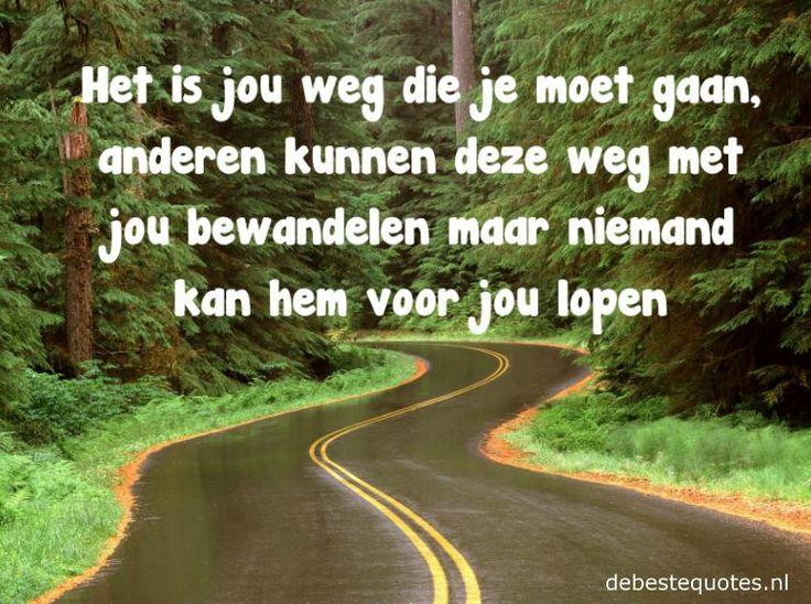 Het is jouw weg die je moet gaan, anderen kunnen deze weg met jou bewandelen, maar niemand kan hem voor jou lopen.