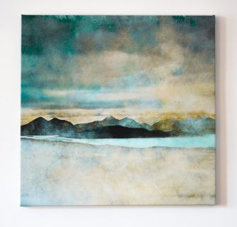 """The Cuillins, Isle of Skye from the Bealach Na Ba, the historic """"Pass of the Cattle"""" which winds through the mountains of the Applecross peninsula.     Singed limited edition Giclee prints and canvases. Signed open edition smaller prints.  For more info please see about prints section"""