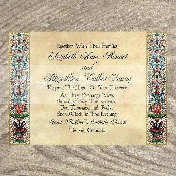 Wedding Invitations Renaissance Medieval Manuscript By OldPaperAndPrints 1350